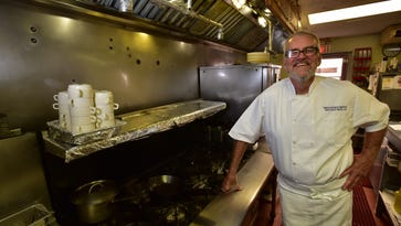 Chef Brooks Nicklas in the kitchen at  Brookside Bistro in Riverdale.