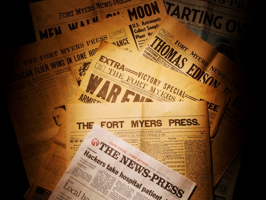 A selection of The News-Press newspapers dating back to 1884 when the Fort Myers Press came into existence.  The paper is celebrating 130 years