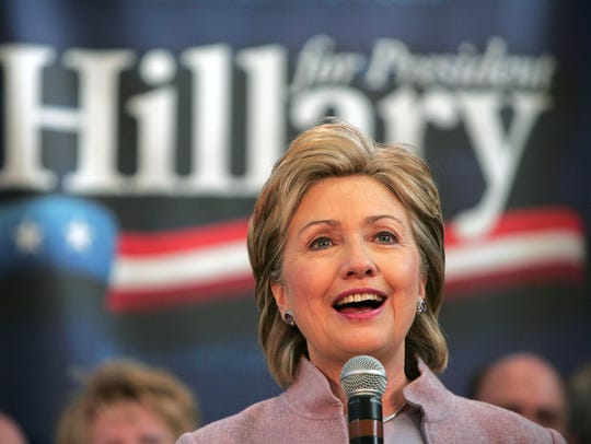Hillary Rodham Clinton speaks to supporters at a town-hall-style