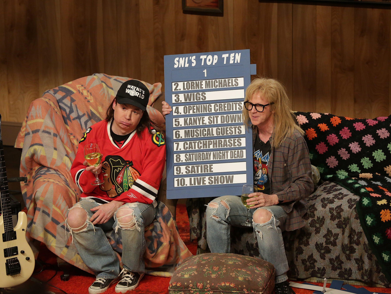 Mike Myers as Wayne Campbell, Dana Carvey as Darth Algar during the Wayne's World skit on 'Saturday Night Live 40th Anniversary' show February 15, 2015.
