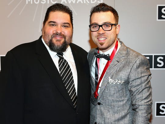 Tim Fink and SESAC Christian Music Award honoree Seth Mosley arrive at the 2015 SESAC Christian Music Awards on Tuesday. Fink is vice president of  writer/publisher relations for SESAC.