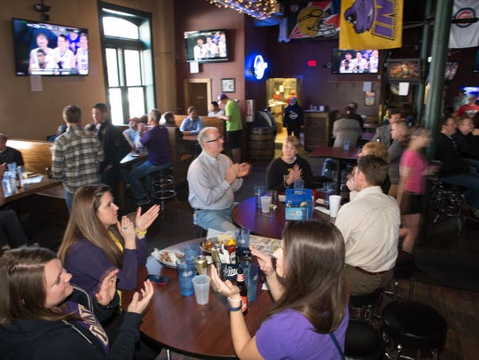 Guests watch as UNI plays Wyoming March 20 at Johnny's