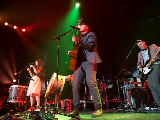Rend Collective performs Tuesday, March 31, 2015, while opening for Chris Tomlin at Wells Fargo Arena in Des Moines.