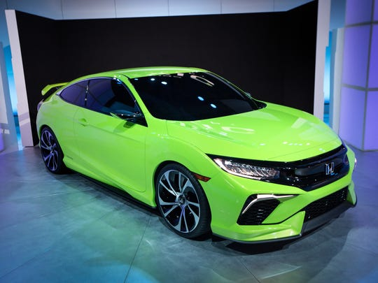 The new Honda Civic concept car is displayed at the New York International Auto Show at the Javits Center on April 1, 2015, in New York City. T