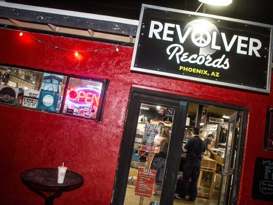 The entrance at Revolver Records in Phoenix for Record Store Day on Saturday, April 18, 2015.