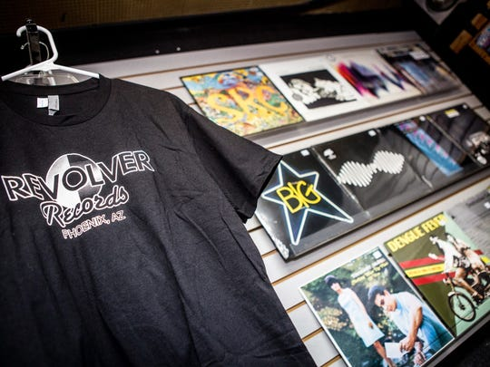 Merchandise at Revolver Records in Phoenix for Record Store Day on Saturday, April 18, 2015.