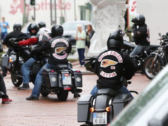 Members of the Hells Angels motorcycle gang wear gear
