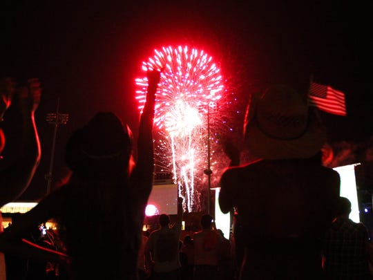 Guests admire the fireworks show after Brantley Gilbert's