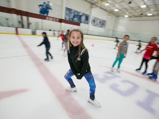 Children take part in the Skate Rattle and Roll camp at AZ Ice, on July 3, 2015, in Peoria.