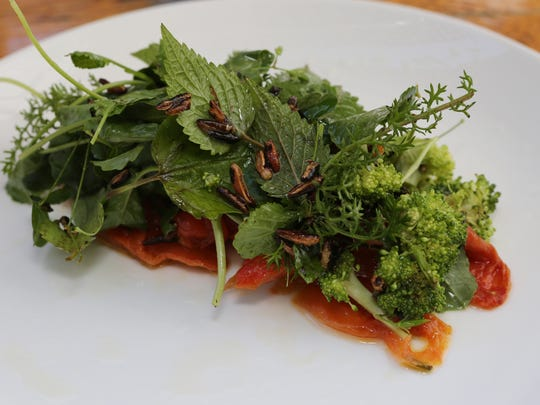 Salad grown with greens grown from behind the chefs