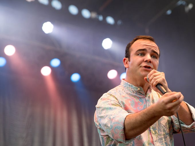 Future Islands performs Friday, July 31, 2015, during