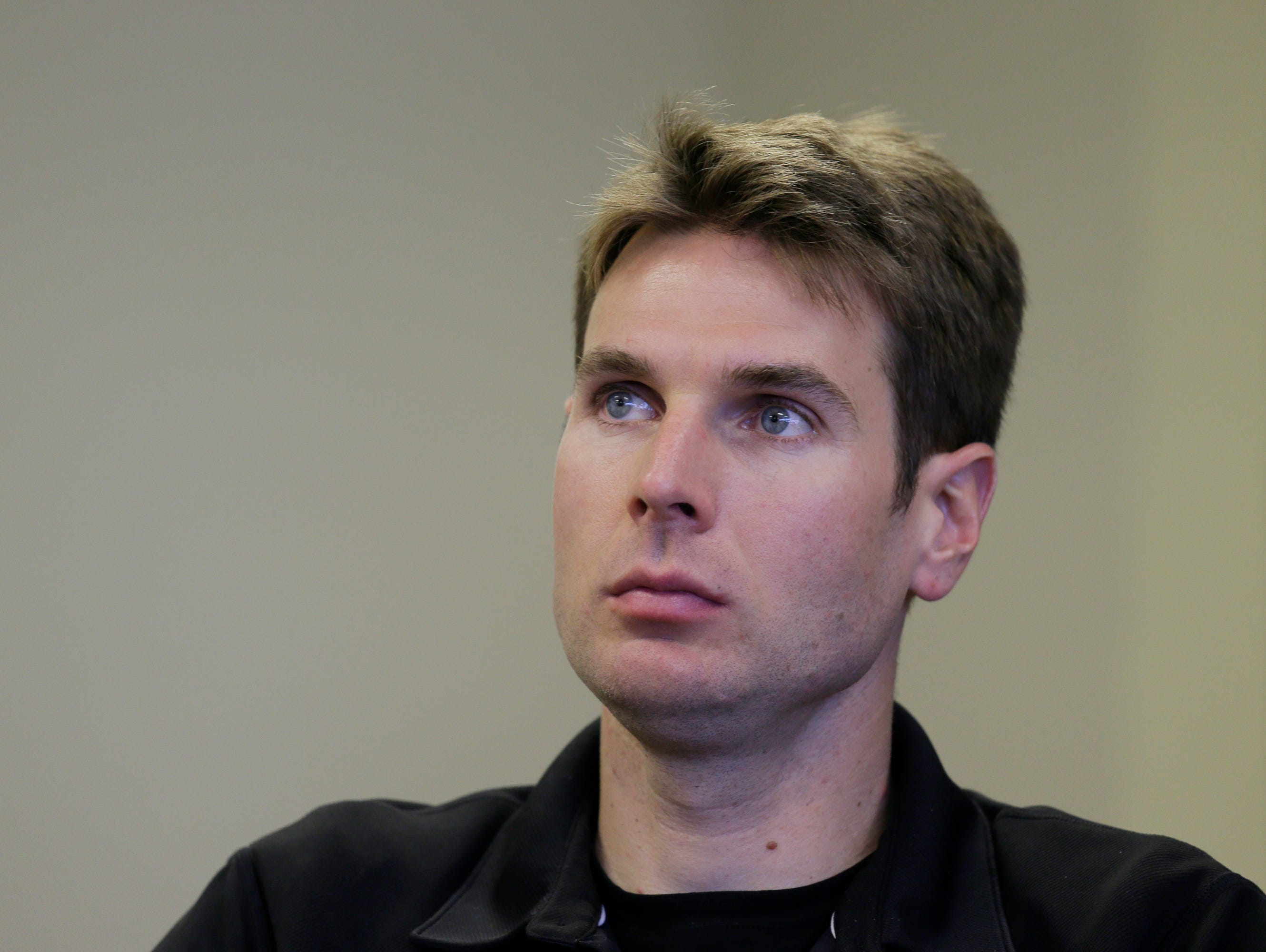 Will Power during a news conference before practice for the IndyCar auto race Friday, Aug. 28, 2015, in Sonoma, Calif. (AP Photo/Eric Risberg)