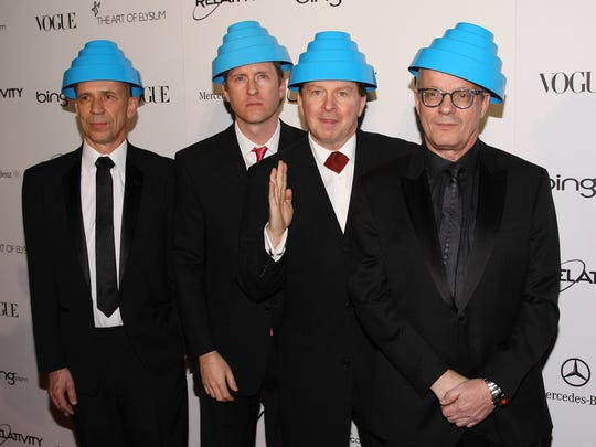 Devo members Bob Mothersbaugh, Josh Freese, Gerald Casale and Mark Allen Mothersbaugh in Los Angeles on Jan. 15, 2011.
