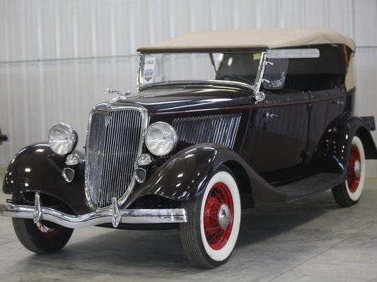 1934 Ford Phaeton. Rare car collection of the late Grant J. Quam to be auctioned Sept. 26th in Ames, Iowa, Wednesday, Sept. 16, 2015.