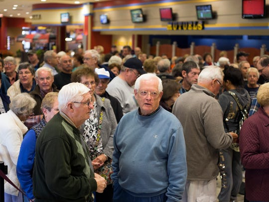 A long line formed for the County Fair Buffet at Tioga Downs on Wednesday evening after it was announced visitors would eat for free to celebrate the news.
