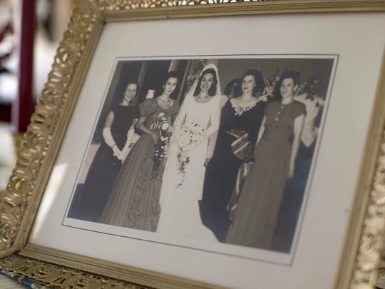 A photo of Barbara Howe's wedding at the Middletown home of her sister, Pat Marshall.