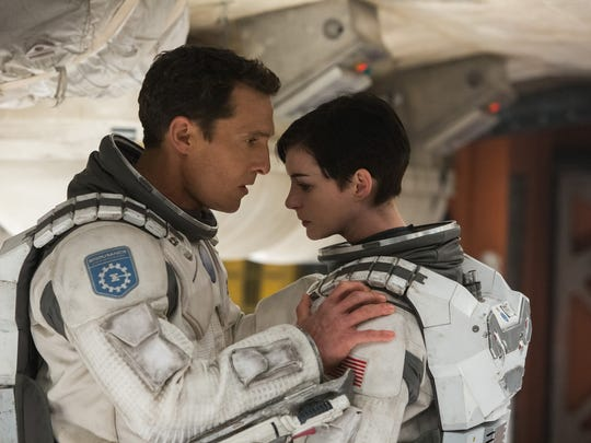 "This photo released by Paramount Pictures shows Matthew McConaughey, left, and Anne Hathaway, in a scene from the film, '""Interstellar,"" from Paramount Pictures and Warner Brothers Pictures, in association with Legendary Pictures. (AP Photo/Paramount Pictures, Melinda Sue Gordon)"