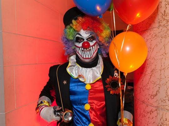 Mark Birnhart of Northville, MI, wore a scary clown costume to Theatre Bizarre at the Masonic Temple on Saturday, October 17, 2015 in Detroit.