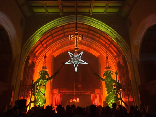 """The cathedral space at the Masonic Temple is transformed into """"The Asylum"""" during the Theatre Bizarre events."""