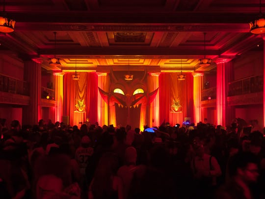The Dirty Devils Peep Show drew large crowds during Theatre Bizarre at the Masonic Temple on Saturday, October 17, 2015 in Detroit.