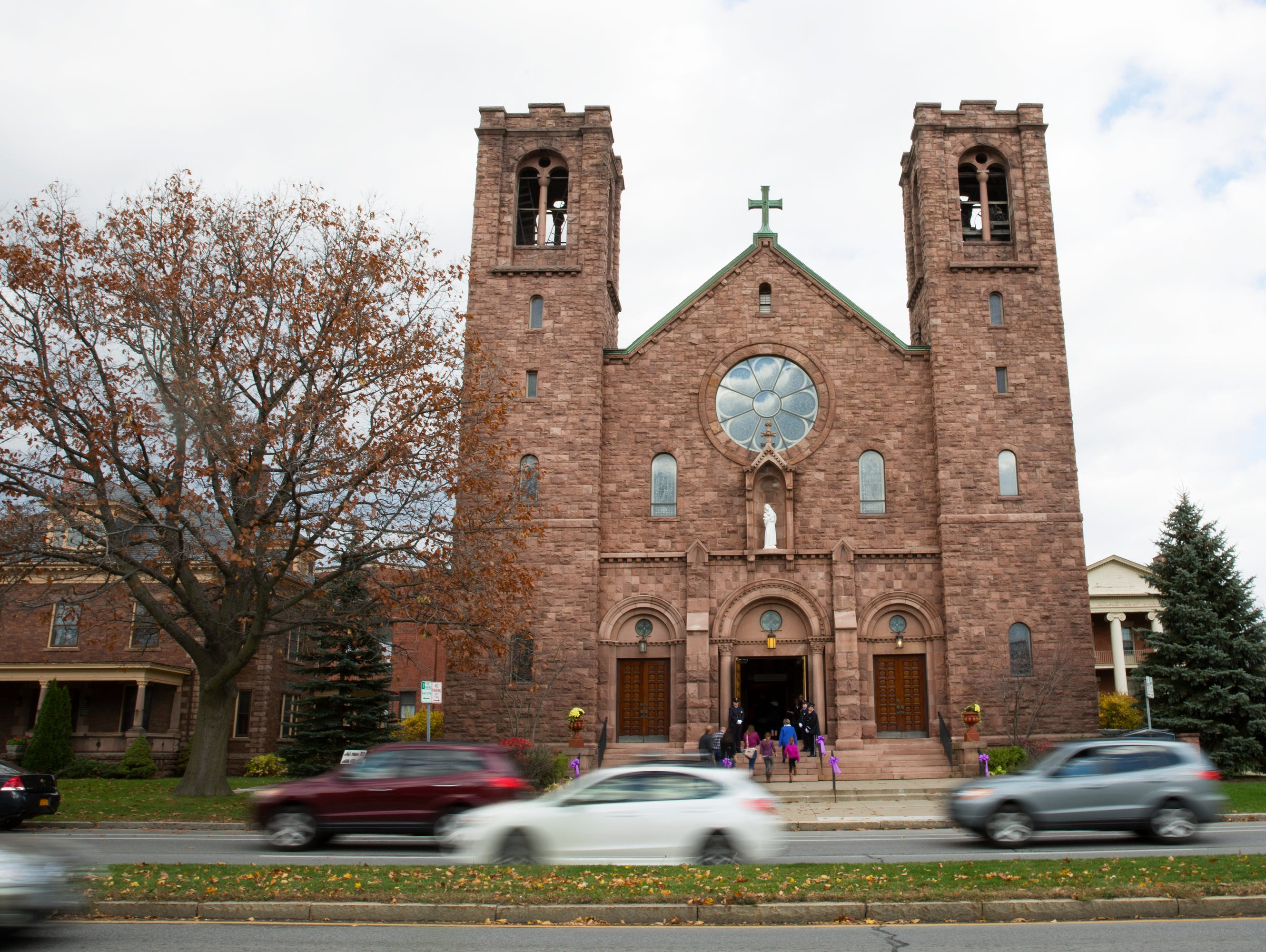 People enter St. Mary's Church in Canandaigua for Courtney Wagner's funeral on Saturday, November 7, 2015.
