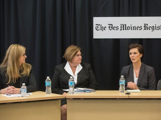 UnitedHealthcare Vice President Catherine Anderson, left, Iowa Medicaid Director Mikki Stier, and Public Information Officer Amy McCoy attend the Register's editorial board on Medicaid in Des Moines, Tuesday, Nov. 10, 2015.