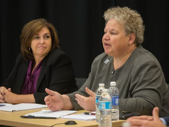 AmeriHealth's Market President Cheryl Harding, left, and Vice President Corporate Medical Management Karen Michael attend the Register's editorial board on Medicaid in Des Moines, Tuesday, Nov. 10, 2015.