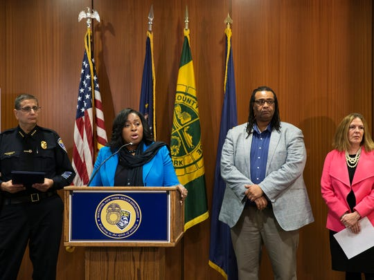 Mayor Lovely Warren speaks along with Rochester Police Chief Michael Ciminelli, City Councilman Adam McFadden, and District Attorney Sandra Doorley at a press conference announcing that six people have been charged in relation to the shooting at the Boys & Girls Club on Nov. 13, 2015.
