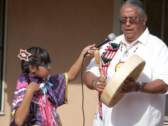 Marty Silva of the Tigua Pueblo from El Paso sings