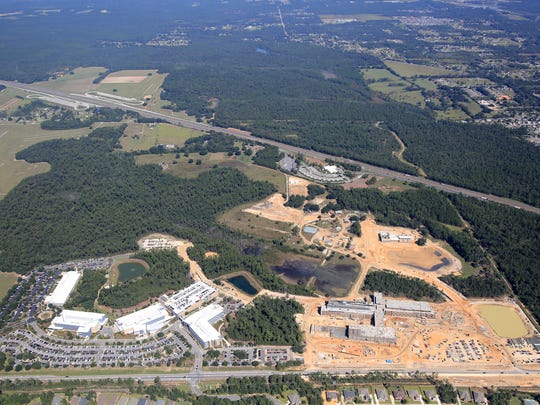 An aerial view taken in October of the Navy Federal campus.