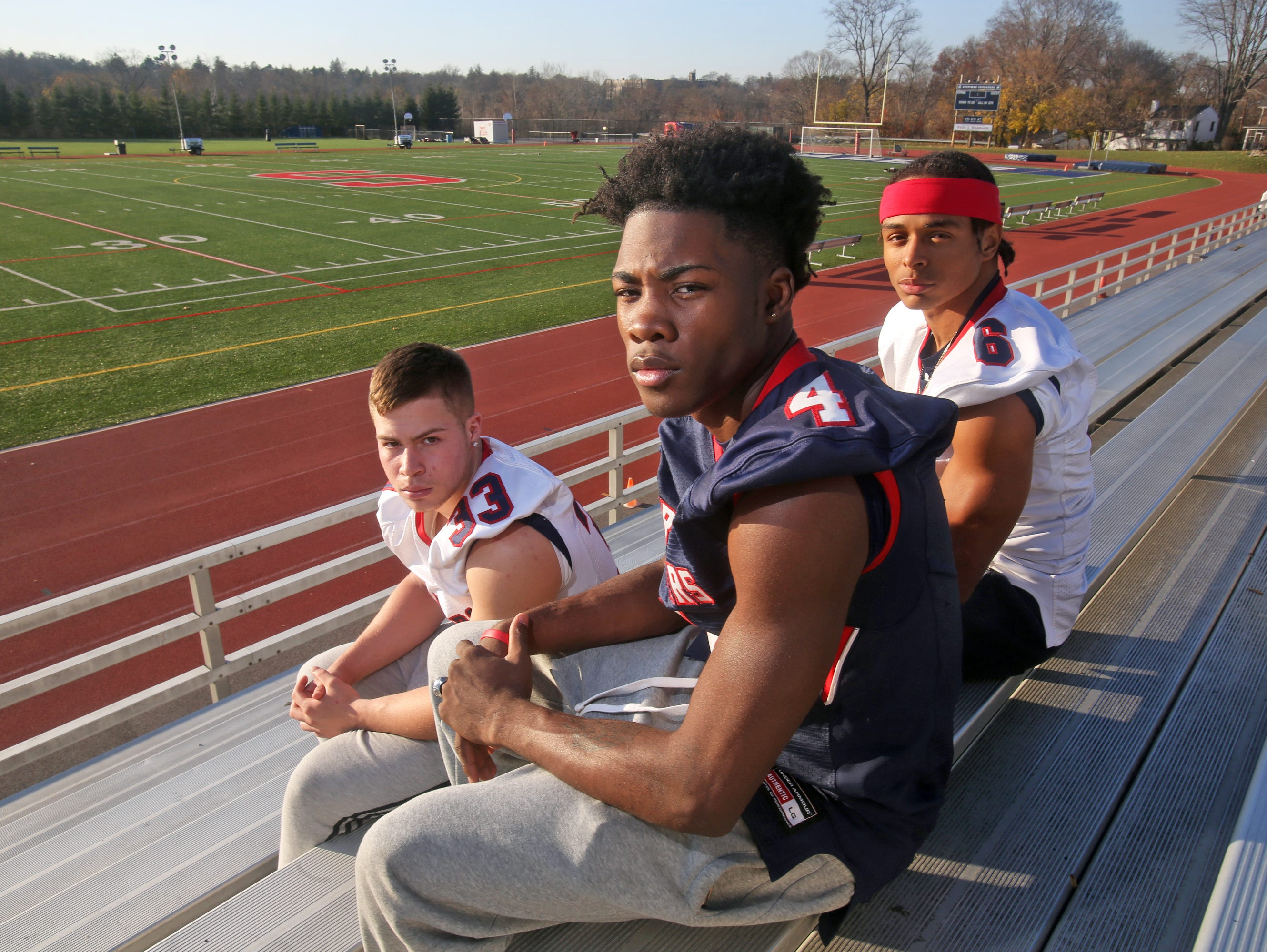 Stepinac High School football players, Daniel Negron, left, Tyquell Fields, and T.J. Morrison will lead Stepinac as they play St. Francis in the second annual CHSAA state championship at Grand Island High School on Nov. 28, 2015. The Crusaders lost in the same game last year. The players were photographed Nov. 25, 2015.