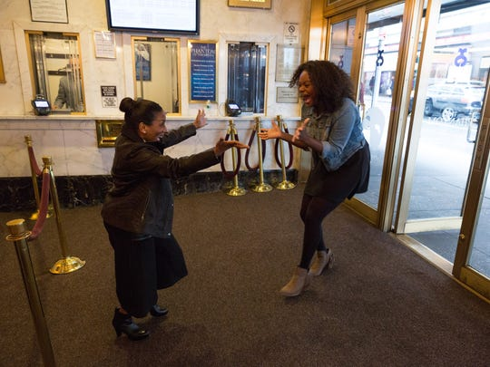"The original Broadway ""The Wiz"" Dorothy Stephanie Mills and ""The Wiz Live!"" Dorothy, Shanice Williams, meet for the first time. Mills will be portraying Auntie Em in the television production Thursday."