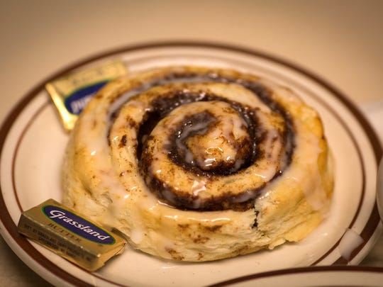 Cinnamon roll at Waveland Cafe.