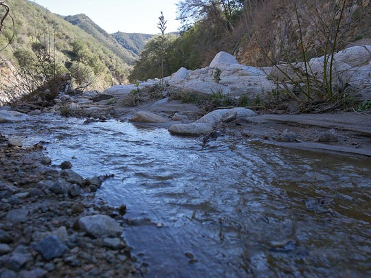 Strawberry Creek flows in the mountains near San Bernardino in January 2015.
