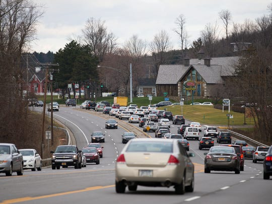 File photo of cars on Route 96 near Eastview Mall.