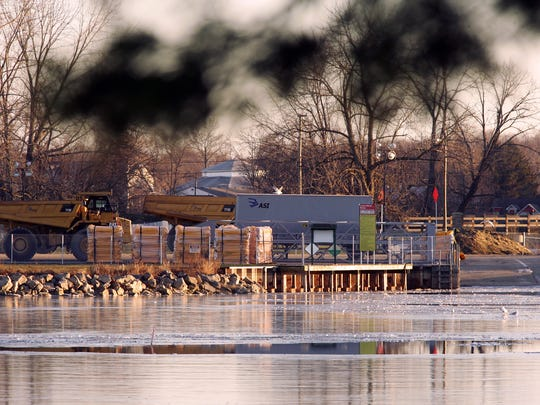 The Liebs Island ramp at Buckeye Lake State Park is full of heavy machinery and construction materials for the dam construction.