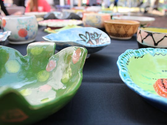 Attendees at Empty Bowls Naples donate $15 to the Harry Chapin Food Bank and then choose from one of over 2,000 handcrafted bowls.