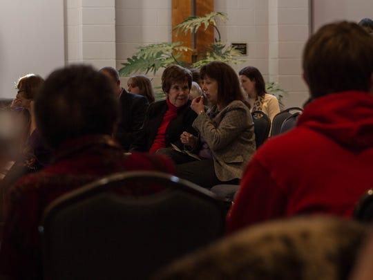 Guests at the second Chamber Music Concert Sunday afternoon talked and mingled before the string quartet took stage.