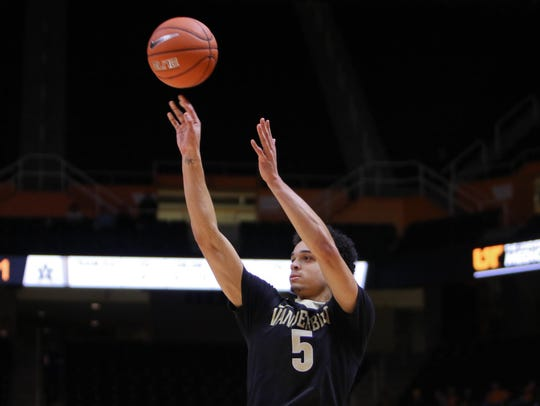 Vanderbilt guard Matthew Fisher-Davis (5) shoots a 3-pointer against Tennessee on Jan. 20, 2016.