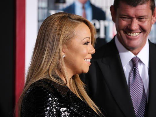 Mariah Carey and Australian casino mogul James Packer at premiere in New York on Sept. 21, 2015.