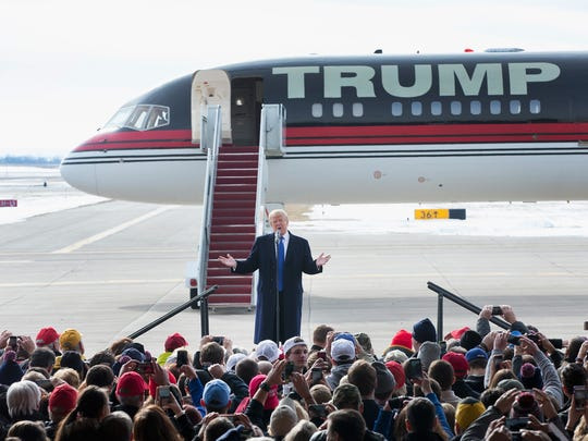 Donald Trump speaks during a rally at the airport on Jan. 30, 2016, in Dubuque, Iowa.