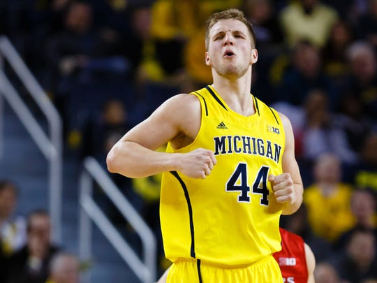 FILE -- Michigan Wolverines forward Max Bielfeldt (44) reacts against the Rutgers Scarlet Knights at Crisler Center.
