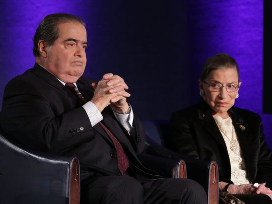 Justices Antonin Scalia and Ruth Bader Ginsburg in April 2014.