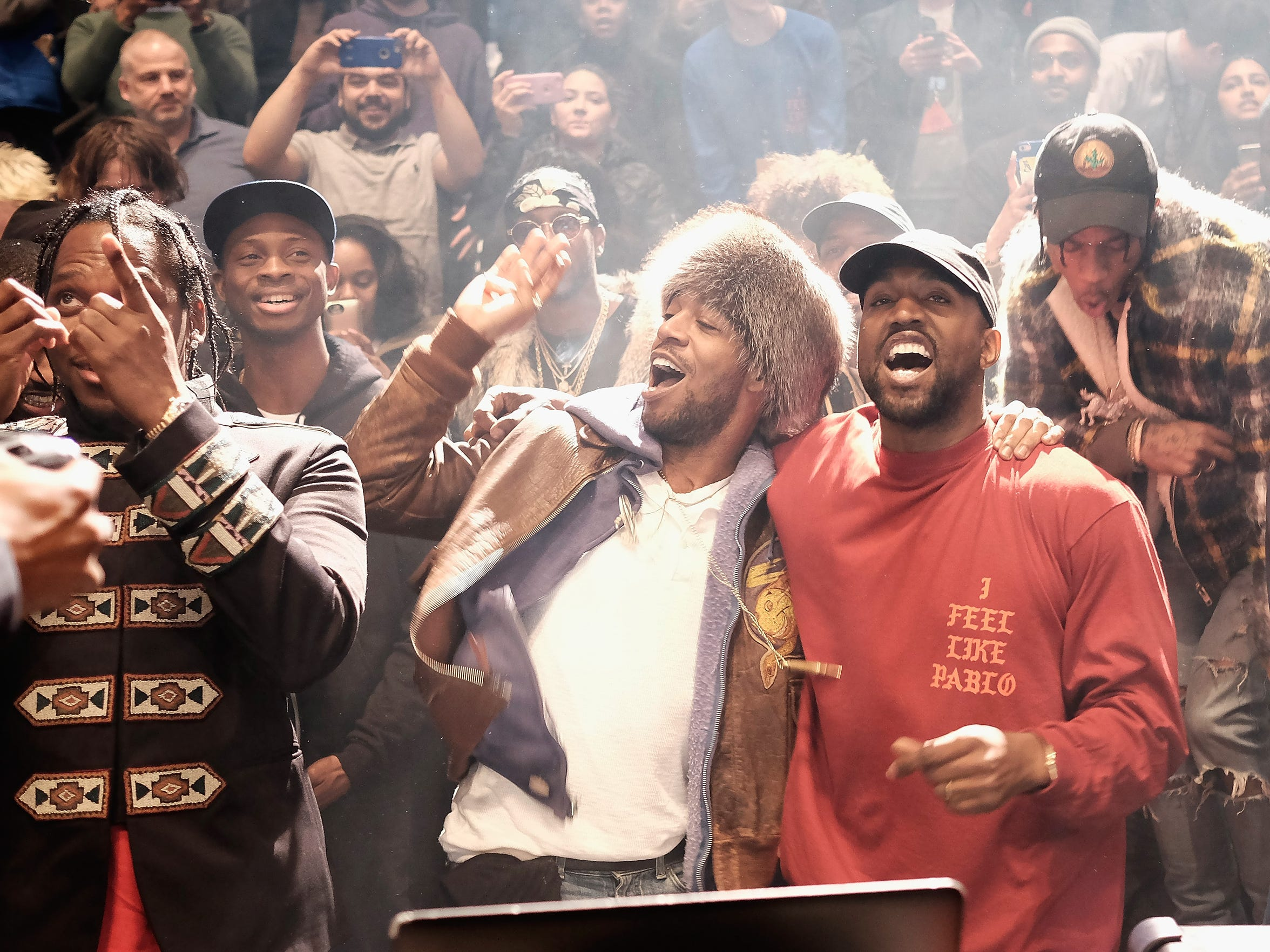 Kanye West performs during Kanye West Yeezy Season