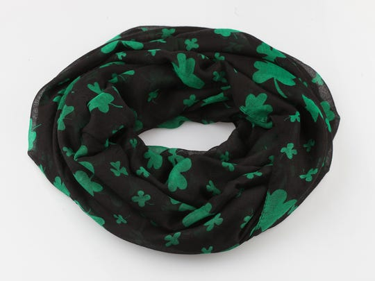 Wrap this special shamrock infinity scarf around your neck, a purse or even use as a belt. $26 at Von Maur, Oxmoor Centre