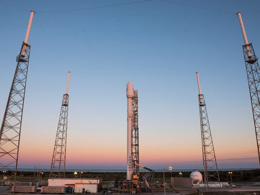 SpaceX Falcon 9 rocket on the pad