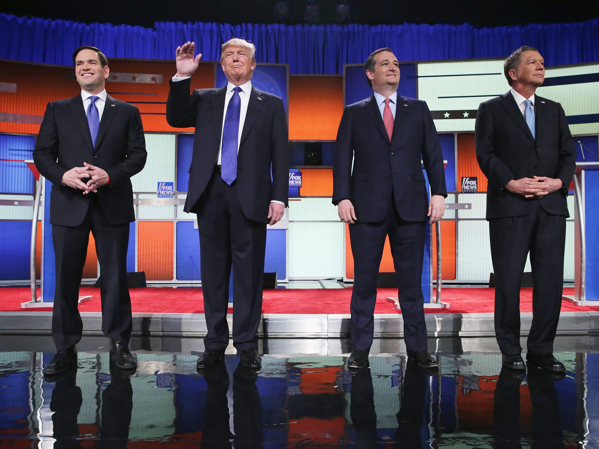 Republican presidential candidates (from left) Sen. Marco Rubio, Donald Trump, Sen. Ted Cruz and Ohio Gov. John Kasich participate in a debate sponsored by Fox News on Thursday in Detroit.