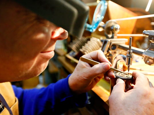 Student Doug Skinner, of Berkley Springs, West Virginia, works to craft missing parts in his pivot gauge set at York Time Institute, School of Horology is shown in York City on Thursday, March 3, 2016. Dawn J. Sagert photo