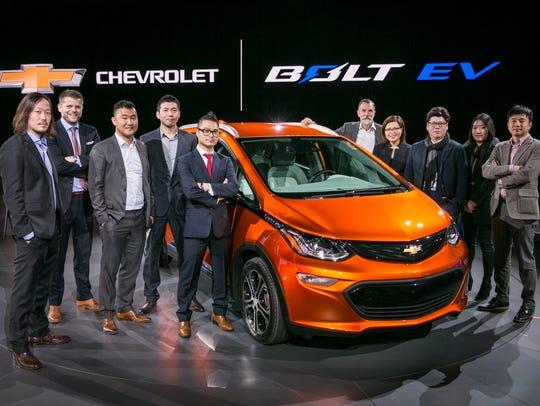 The 2017 Chevrolet Bolt EV design team at the vehicle's
