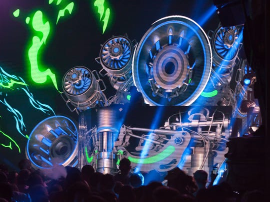 Electronic musician Excision performs on The Paradox, his state of the art stage rig that features a moving DJ booth, high-tech LED animations and 150,000 watts of sound.